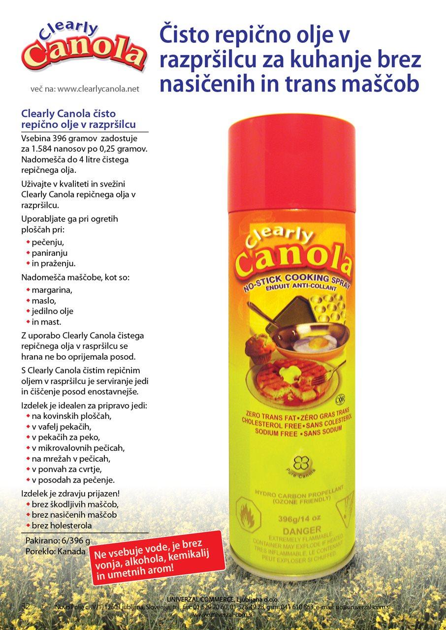 UC19 Clearly Canola čisto repično olje v sprayu za zdravo peko vseh živil 396g PQ32